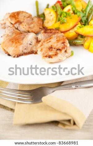 Sauteed Chicken Thighs  with Various Organic Vegetables - stock photo