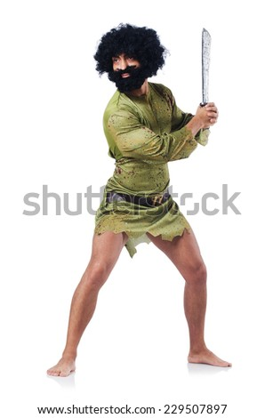 Savage man isolated on white - stock photo
