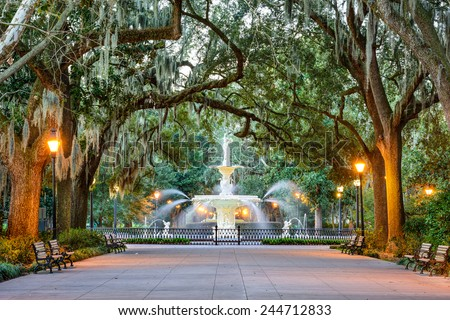 Savannah, Georgia, USA at Forsyth Park Fountain. - stock photo