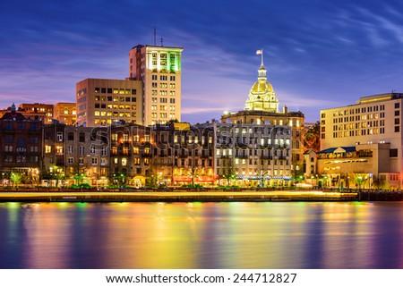 Savannah, Georgia, USA riverfront skyline at twilight. - stock photo