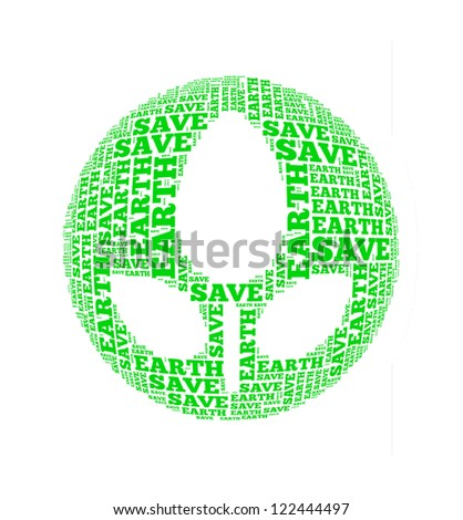 save earth text collage Composed in the shape of tree and globe an isolated on white - stock photo