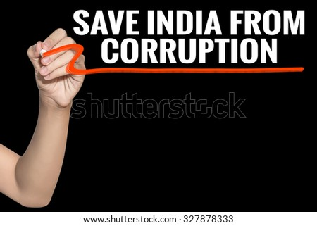 Save India From Corruption word write on black background by woman hand holding highlighter pen - stock photo