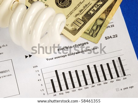 Save money by using energy savings light bulbs - stock photo