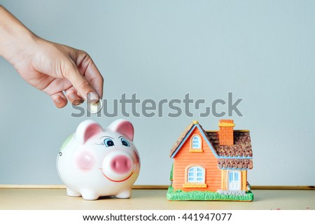 save money for investment ,Stack of coins isolated, save a money for buy house - stock photo