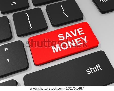 Save money key on keyboard of laptop computer. 3D illustration. - stock photo