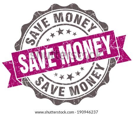 Save money violet grunge retro style isolated seal - stock photo