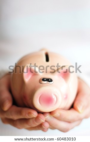 save money with your financial piggy bank - stock photo