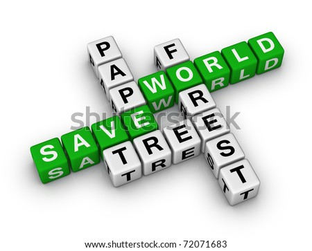 Save Paper, Save World crossword - stock photo