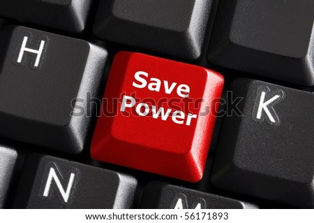 save power or energy concept with key on computer keyboard - stock photo
