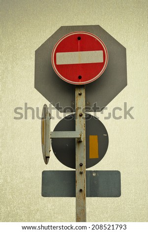 Save selection to clipping path traffic Signs safety transportation on the road - stock photo