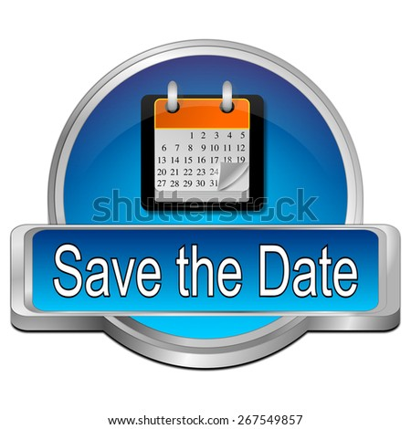 Save the Date Button - stock photo