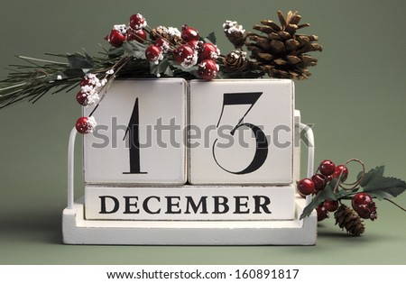 Save the Date calendar with Winter theme colors, fruit and flowers, for birthdays, special occasions, holidays, weddings, website events, or Christmas Advent calendar days, for December 13 - stock photo