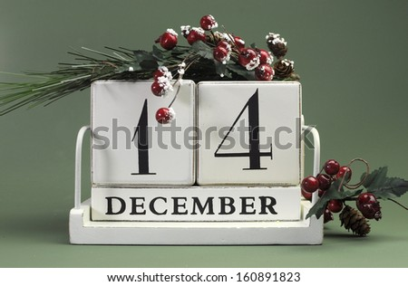 Save the Date calendar with Winter theme colors, fruit and flowers, for birthdays, special occasions, holidays, weddings, website events, or Christmas Advent calendar days, for December 14 - stock photo