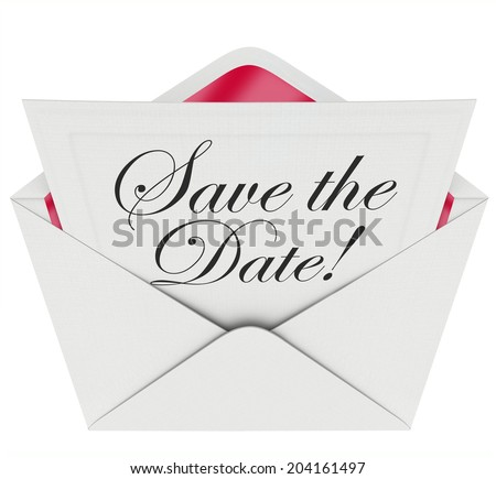 Save the Date words on an invitation or message note in an open envelope event, party  - stock photo