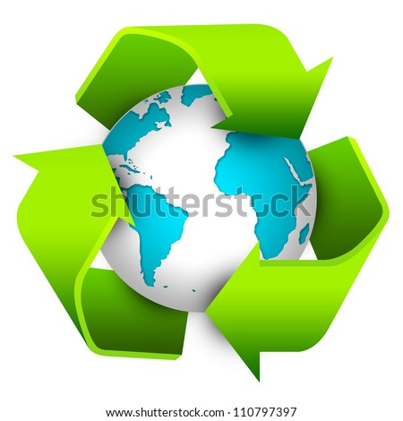 Save The Earth Concept  Present By Recycle Sign Around Earth Isolate on White Background - stock photo