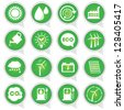 Save The Earth or Ecology Concept Present By Circle Green Ecology Icons Set Isolated on White Background - stock photo