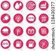 Save The Earth or Ecology Concept Present By Ecology Sign on Pink Icon Set Isolated on White Background - stock photo