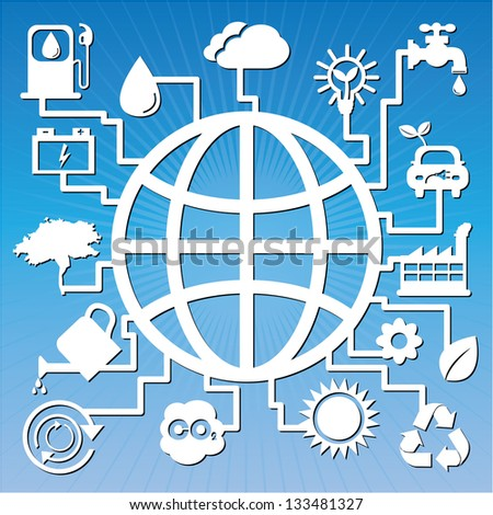 Save The Earth, Stop Global Warming or Recycle Concept Present By The Earth With Group of Ecology or Nature Icon in Blue Shiny Background - stock photo