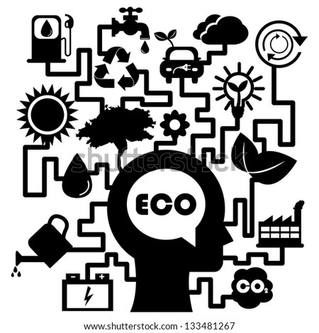Save The Earth, Stop Global Warming or Recycle Concept Present By The Human Head With Group of Ecology or Nature Icon Isolated on White Background - stock photo