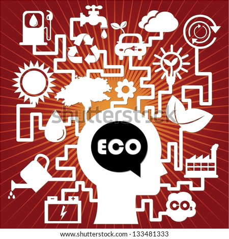 Save The Earth, Stop Global Warming or Recycle Concept Present By The Human Head With Group of Ecology or Nature Icon in Red Shiny Background - stock photo
