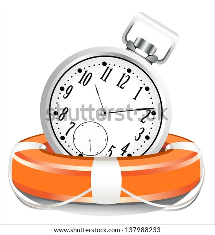 Save the time concept. StopWatch with Life Buoy on a white background - stock photo