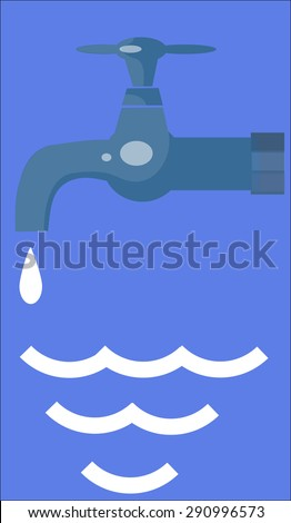Save water.Tap with water drop - stock photo