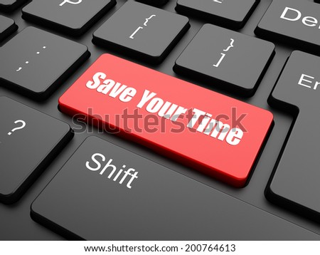 Save Your Time Button on Computer Keyboard. Business Concept. - stock photo