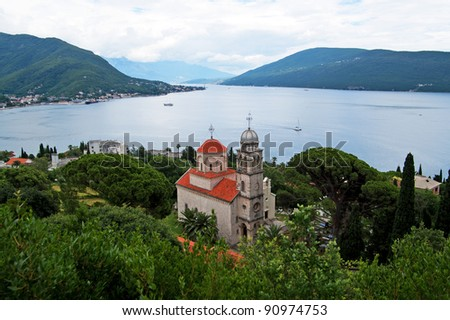 Savina Monastery is a Serb Orthodox monastery near the city Herceg Novi, Montenegro. Probably comes from the 1030 year, although the oldest record in which the monastery mentioned in 1648 - stock photo