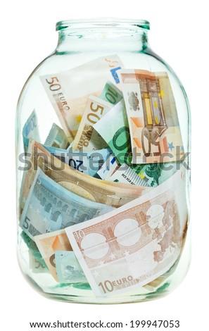 saving euro money in glass jar isolated on white background - stock photo