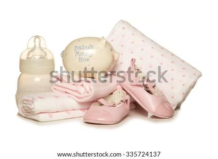Saving for a baby girl studio cutout - stock photo