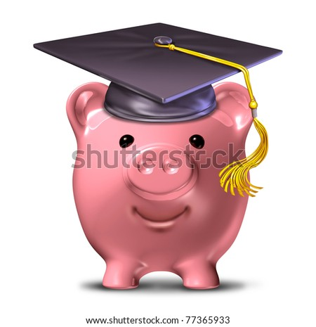 Saving for an education represented by a graduation cap and school mortar board on a pink savings piggy bank. - stock photo