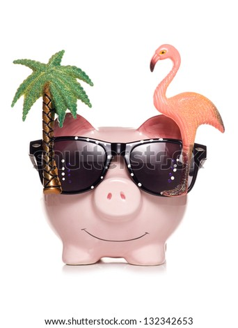 saving for retirement piggy bank studio cut out - stock photo