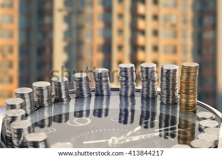 saving money. financial report. time is money and wealth. concept of time and money. - stock photo