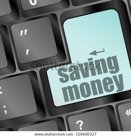 saving money for investment concept with a blue button on computer keyboard, raster - stock photo
