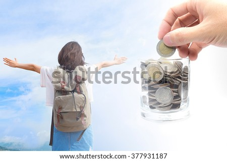 Saving money for the travel - stock photo