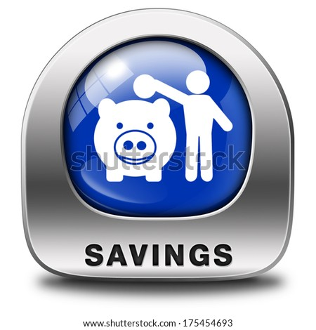 saving money in piggy bank deposit account blue icon or button with savings plan save cash online banking - stock photo