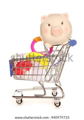 Saving money on your baby shopping cutout - stock photo