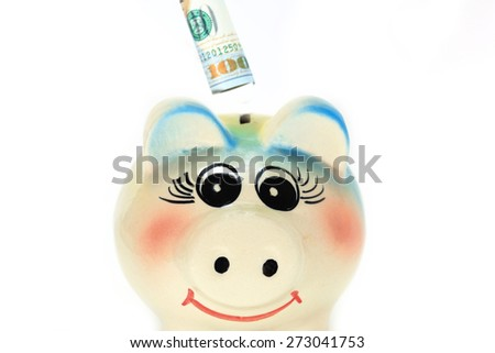 Saving money with piggy bank on white background - stock photo