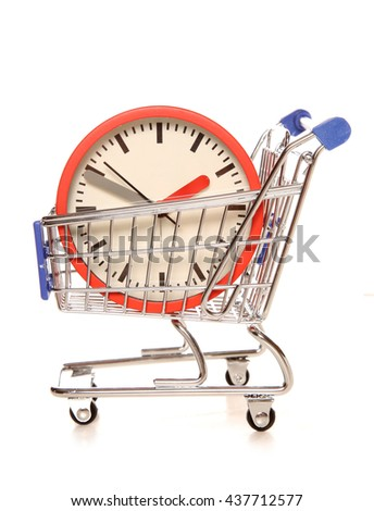 Saving time on your shopping cutout - stock photo