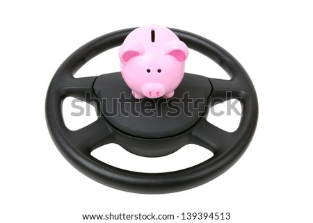 saving up for car , car loan piggy bank isolated on white background - stock photo