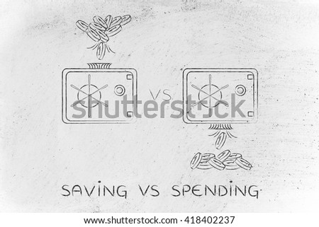 saving vs spending: coins being dropped into and out of safe - stock photo