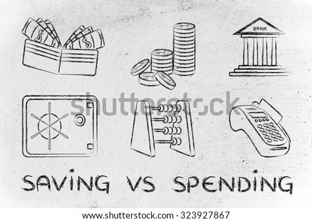 saving vs spending: illustration with money-related objects - stock photo