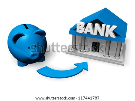 Savings and investment concept with a blue piggybank or money-box making for a bank account. - stock photo