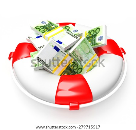 Savings concept. Lifebuoy with pile of Euro isolated on white background  - stock photo