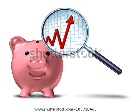 Savings growth chart business symbol as a piggy bank with a magnifying glass showing an upward arrow on a financial graph as a metaphor for budget success. - stock photo