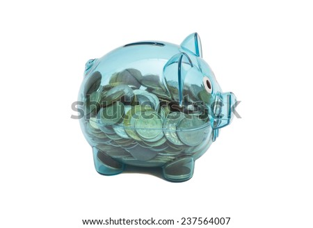 Savings in piggy bank isolated on white background  - stock photo