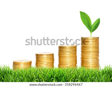 Savings, increasing columns of gold coins and green plant in green grass on white background - stock photo