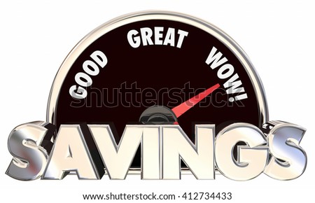 Savings Speedometer 3d Words Money Saved Best Prices Offers - stock photo