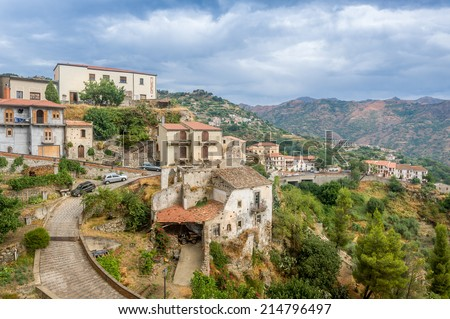 Savoca old town. City of Godfather film. Sicily, Italy - stock photo