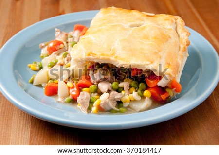 savory turkey pot pie with holiday leftovers made from scratch at home - stock photo